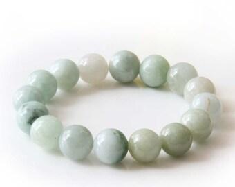 13mm Jadeite Jade Global Prayer Beads Rosary Beaded Stretchy Bracelet Hand String  T2825