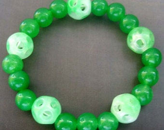 Jade Gemstone Lu-Lu Tong Beaded Passepartout All The Way Open Beads Stretchy Bracelet  T0823