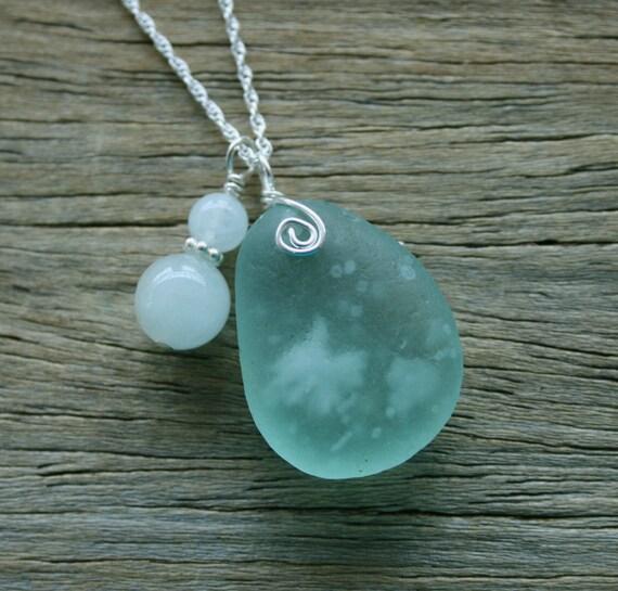 Sea Glass Jewelry Sea Foam Aqua Aquamarine Sterling Silver