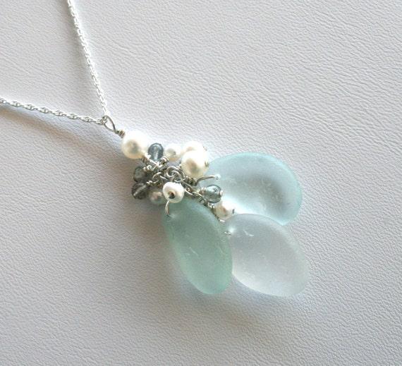 Sea Glass Jewelry Aqua White Charm Necklace Freshwater Pearls Labradorite Sterling Silver