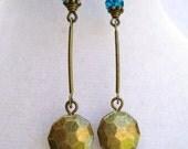 Bronze & Dark Teal Blue Czech Glass Dangly Earrings