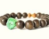 Unisex handmade wood bead and turquoise bracelet with vintage elements