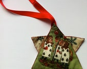 Alice In Wonderland fabric star christmas tree ornament