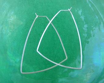 Sterling Silver Triangle Hoops Triangle Earrings Geometric Shape Earrings Hammered Wire Jewelry Lightweight Thin Hoops