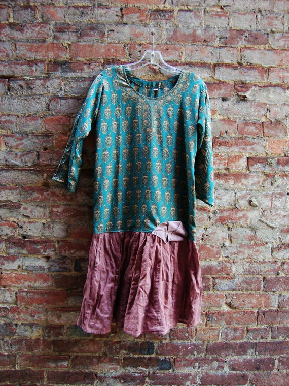 Womens Tunic Dress/ Eco Clothing/ Upcycled Tunic Dress/Teal and Bare Earth