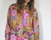 Amazing Vintage Silk Floral Blouse