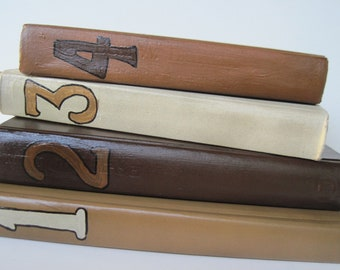 Wedding Books, Painted Books,  Table Numbers, Beach Wedding,  Old World Style, Art Deco Books, Earthtone Books, French Country Look