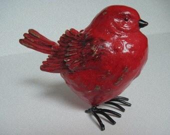 Christmas Bird, Red Holiday Bird, Red Bird, Red Bird Art, Painted Red Bird, Redbird Decor, Winter Redbird, Christmas Decor, Home Decor, Bird