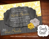 Rustic Bridal Shower Invitation Grey and Yellow