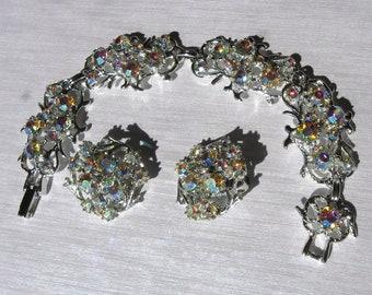 Be Brilliant... Vintage 1950s Aurora Borealis Rhinestone Bracelet and Earring Set