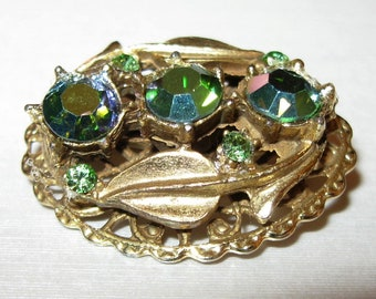 Be Sweet... Little Vintage Brooch with Blue Green AB Rhinestones