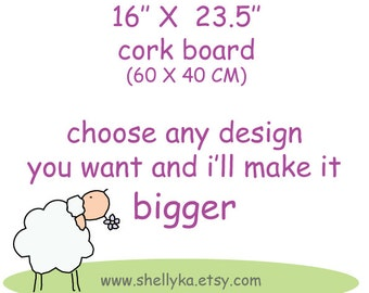 "Cork Board- 16"" x 23"" message board   - Children  hand painted board - memo board for office, dorms, back to school"