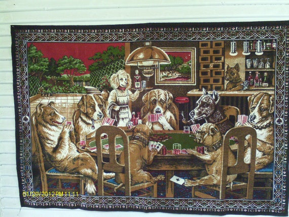 Dogs playing poker tapestry worth