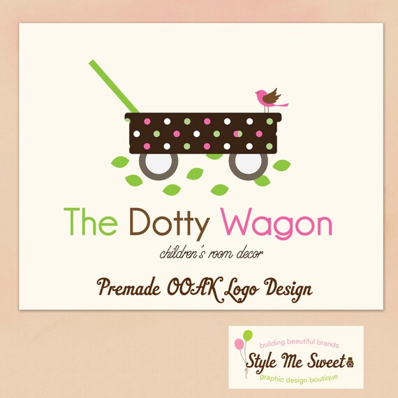 Premade Logo Custom OOAK Hand Drawn  -Cute Dotty Wagon, and a Little Bird Business Photography Photographer Logo Never Resold
