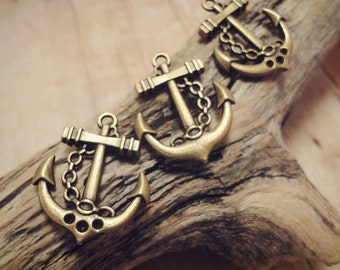LOT of 20pcs of Antique Bronze Double-sided Ship Anchor Charms Pendants Drops 21x21mm P28-HK9713