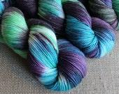 Aurora Gnomealis - SW Merino, Nylon & Stellina Sock Sparkle Yarn - Hand Dyed - 438 yds