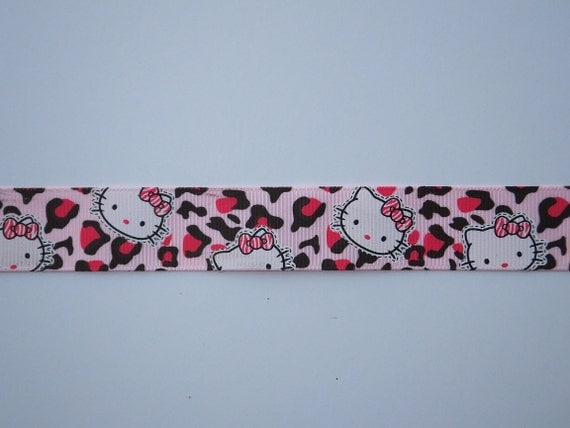 "7/8"" Hello Kitty  Light Pink and Brown Cheetah Grosgrain Ribbon by the Yard"