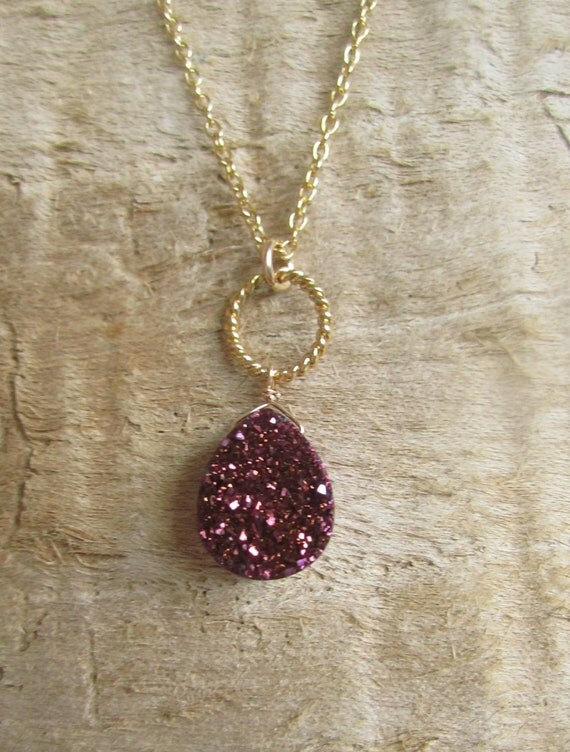 Plum Druzy Necklace Titanium Drusy Quartz 14K Gold Fill
