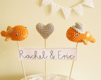 Crochet Koi Fish Wedding Cake Topper with Personalized Name Banner for Orange Beach Wedding Theme