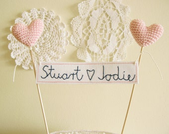 Personalized Custom Wedding Cake Topper, Pink Crochet Hearts, Name Banner