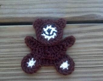 Crochet Little Teddy Bear Applique Handmade for scrapbooking trim sewing flatback
