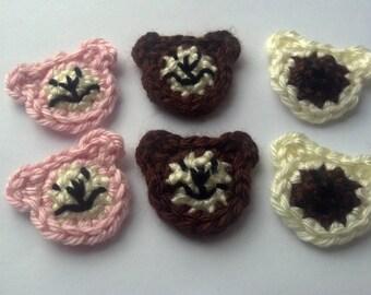 set of 6 mini crochet teddy bears Applique/Scrapbooking/flatback