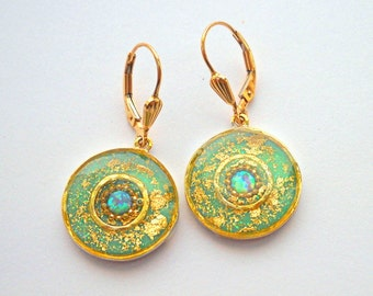 Opal gold earrings, Sterling silver earrings, Mint green earrings with gold leaves, Dangle earrings, Gold filled hooks, round earrings
