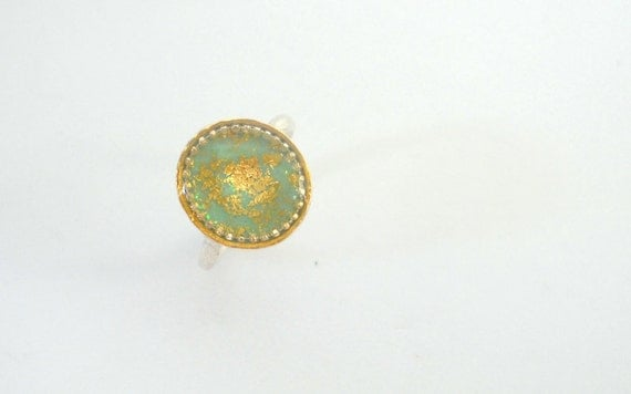 Oval Green Gold ring Sterling Silver ring with gold leaf and mint green resin, Earth like, gift bag included, Israeli jewelry by Hila Welner