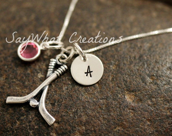 Sterling Silver Mini Initial Charm Necklace with Hockey Sticks Charm and birthstone
