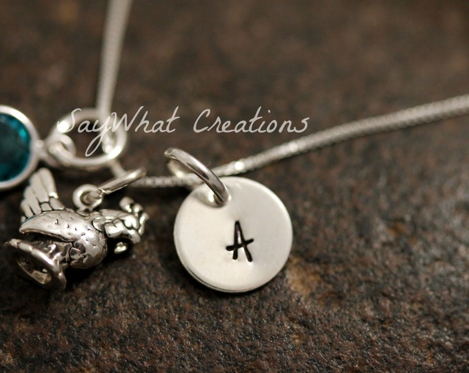 Sterling Silver Mini Initial Charm Necklace with Chicken Charm and birthstone