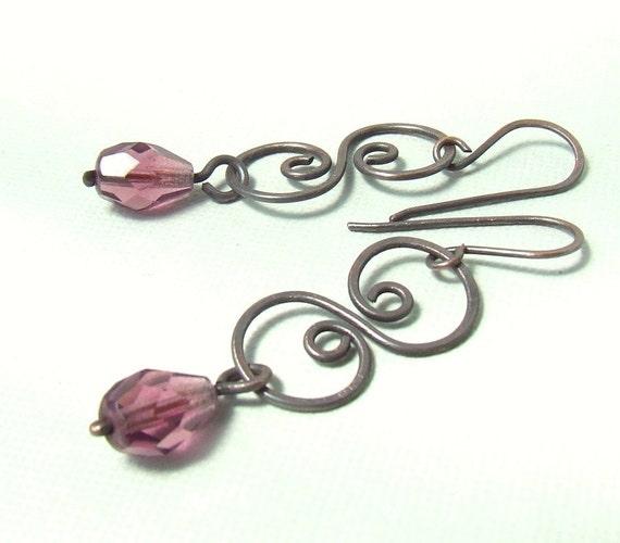 Purple dangle earrings rustic copper wire wrapped jewelry