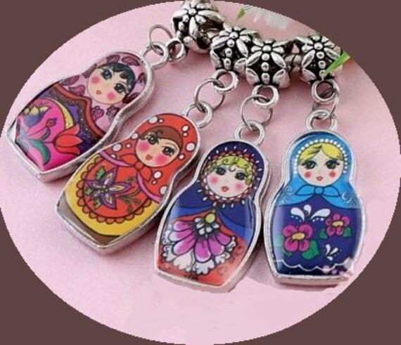 pcs Matryoshka Russian Doll Charms Dangle Pendants w/ Bails Mixed ...