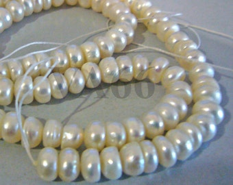 DIY full strand Fresh Water Pearls Button Disc Shape Pearl Beads White 6mm Loose Pearls Jewelry Making Findings