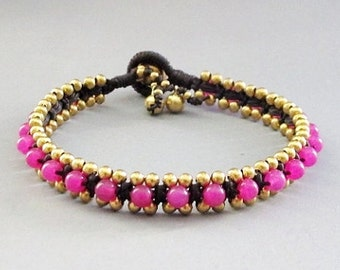 Summer Day Knot Bracelet with Pink Quartz  Bead