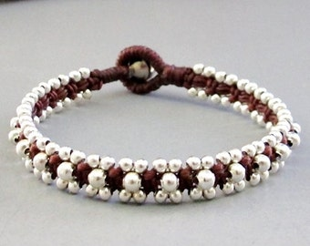 Silver Colour Bead and Brown Wax Cord Square Knot Bracelet