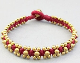 Brass Bead and Dark Red Wax Cord Square Knot Bracelet