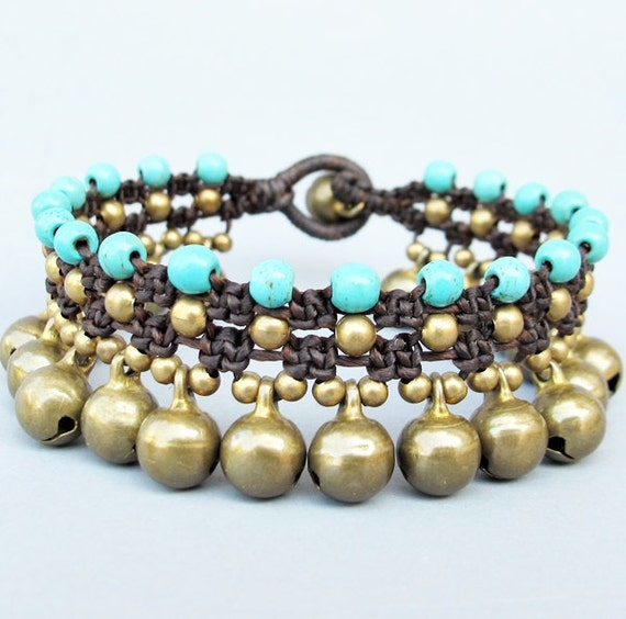 Ring RingBell Macrame Bracelet with Turquoise and Brass Bead