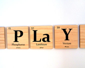 THREE custom wooden elements tiles - pick any 3 elements