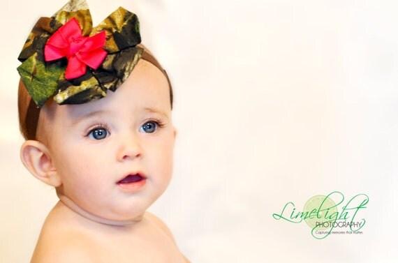 Camo hair bow, Camo wedding, Camo hair ribbon,  Baby girl camo, Camo Hot pink ribbon