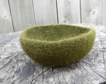 Olive Green Felted Bowl