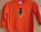 Cat on Pumpkin Counted Cross Stitch Halloween Sweatshirt