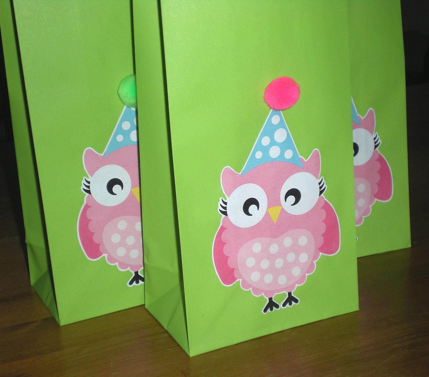 Pink Owl Birthday Party Favor/Treat Bags Set Of 10