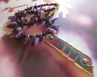 Beaded Purple Amethyst and Red Garnet Necklace with Purple, Green Iridesent Stained Glass Wire Wrapped Soldered Pendant