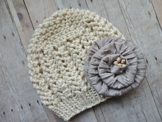 Spring Colors....Pure Cotton Baby Beanie in Natural Off White Soft Cotton with Beautiful Grey Satin Flower Photo Prop Baby Beanie