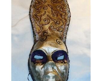 creepy Unusual ooak Silver and dark purple masquerade handmade paper mache mask, weird, odd, unique