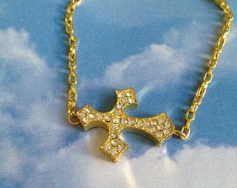Gold Crystal Cross Bracelet