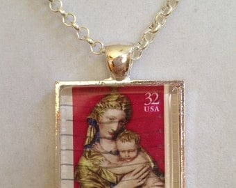 Mother and Child US  Stamp Pendant Necklace