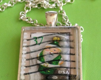 Holiday Santa Stamp Necklace