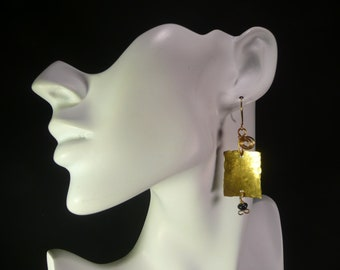 Hammer and Anvil  Brass Earrings