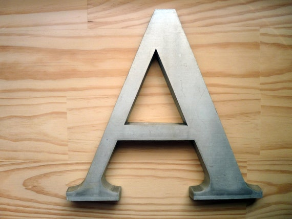 Vintage Letter A Large Heavy Aluminum Wall Hanging Shelf Sitter Typography Word Art Mixed Media Salvage Sign Industrial